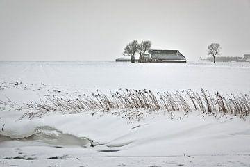 Eenzame boerderij in de sneeuw van Frans Lemmens