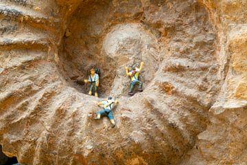 Miniaturen op ammoniet fossiel van