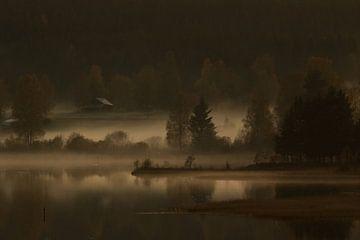 Mistige zonsondergang van Mindy Molein