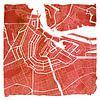 Amsterdam Noord en Zuid | Stadskaart Rood | Vierkant met Witte kader van - Wereldkaarten.shop - thumbnail
