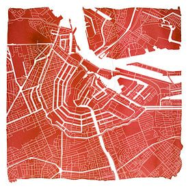 Amsterdam nord et sud | Plan de la ville rouge Carré avec cadre blanc sur - Wereldkaarten.Shop -