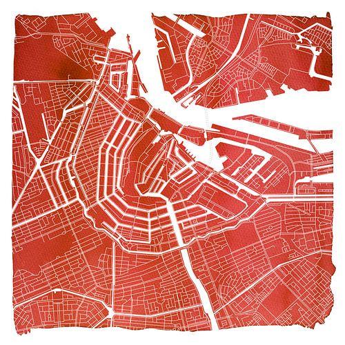 Amsterdam Noord en Zuid | Stadskaart Rood | Vierkant met Witte kader van
