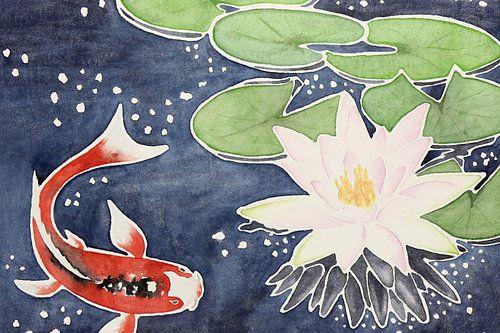 Koi karper met lotusbloem