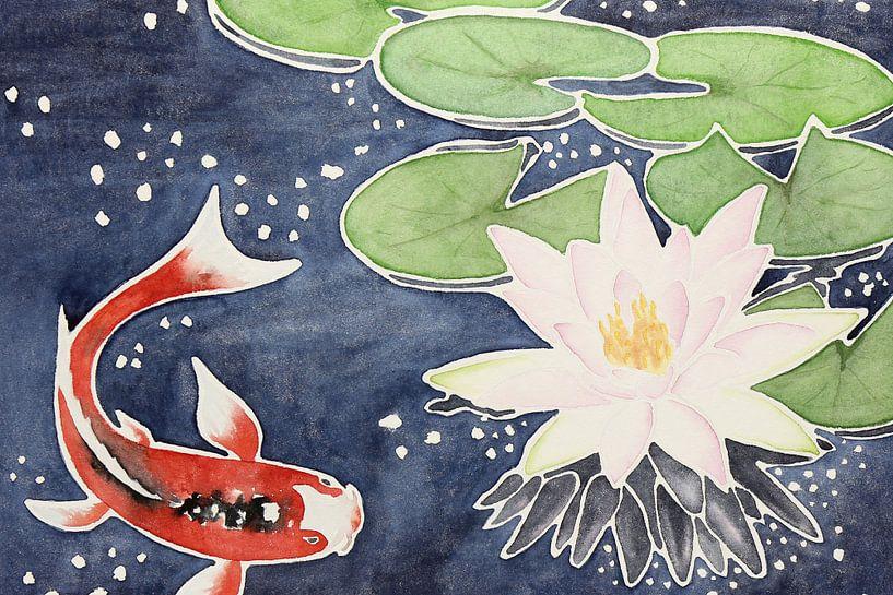 Koi karper met lotusbloem van Natalie Bruns