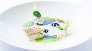 Fischgericht mit grünem Dressing auf weissem Teller