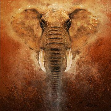 Geschilderde olifant van Arjen Roos