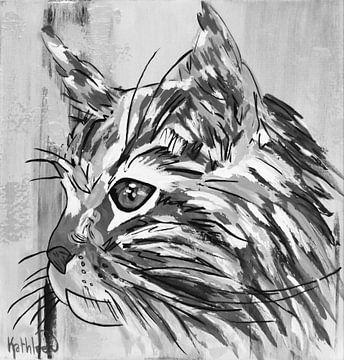Die Vintage-Katze von Kathleen Artist Fine Art