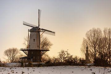 Winterse molen De Koe van Percy's fotografie