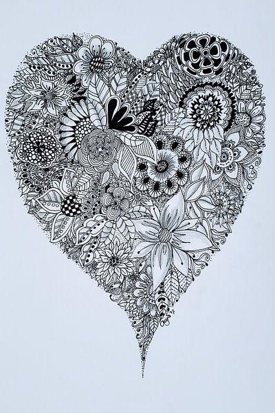 Zentangle Kunst Hart van Anja  Bulté
