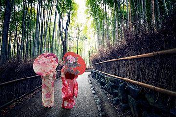 Het bamboebos in Kyoto van Manjik Pictures