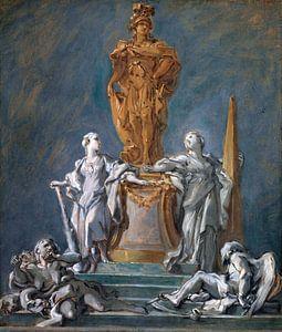 Studie für ein Denkmal für eine fürstliche Figur, François Boucher