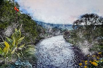 Uitzicht op de rivier Amblève in de Belgische Ardennen (schilderij) van Art by Jeronimo