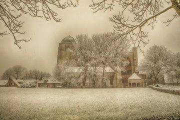 grote kerk veere in de sneeuw van