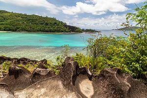 Panoramisch uitzicht op een baai op het Seychellen eiland Mahé van Reiner Conrad