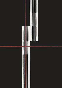 Abstract witte lijnen met rode streep van Romee Heuitink