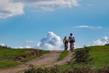 Fietsen op de Ginkelse heide de wolken in. van Cilia Brandts