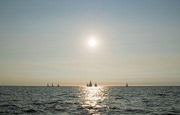 Segelschiffe auf See in der späten Abendsonne von Judith Cool