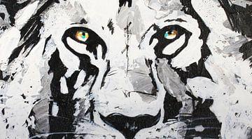 Lion Eyes Painting door Kathleen Artist van Kathleen Artist Fine Art