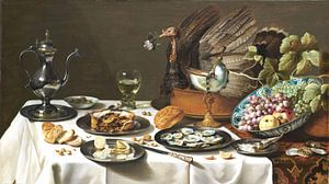 Pieter Claesz.  Stilleven met kalkoenpastei