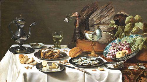Pieter Claesz.  Stilleven met kalkoenpastei van 1000 Schilderijen