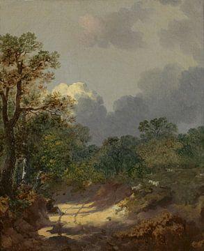 Boomachtig landschap met een rustende herder bij een zonnig pad en schapen, Thomas Gainsborough sur