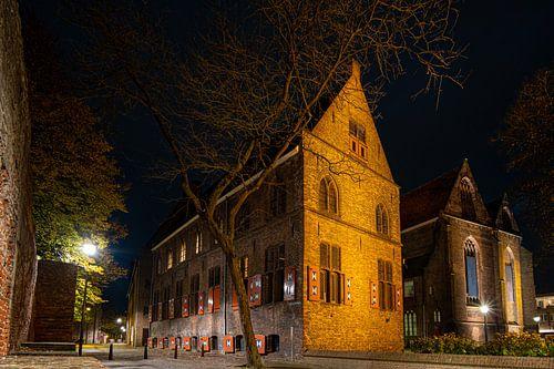 Oud klooster met kerk en stadsmuur, centrum van stad Zwolle