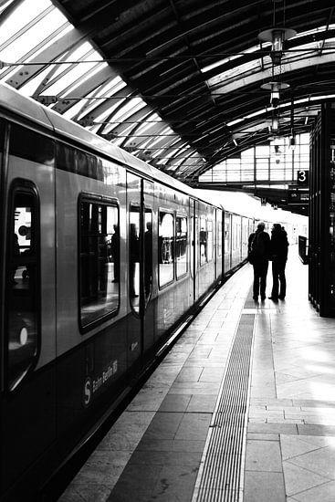 S-Bahn Berlin zwart-wit foto