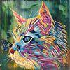 Katze und Schmetterling von Kathleen Artist Fine Art Miniaturansicht