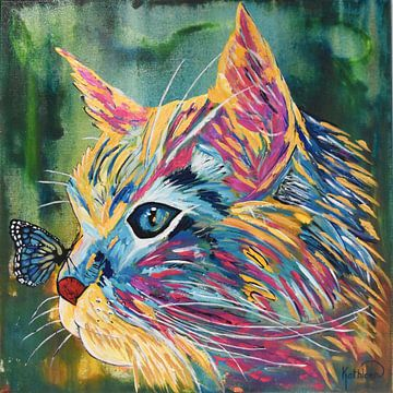 Katze und Schmetterling von Kathleen Artist Fine Art