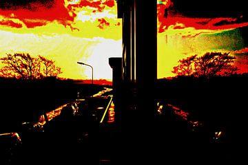 Zonsondergang in het raam
