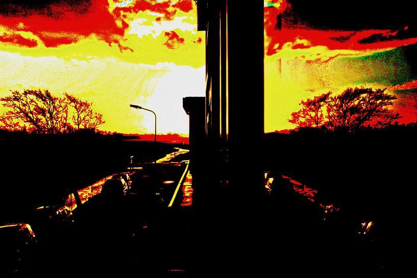 Zonsondergang in het raam van Geert Heldens