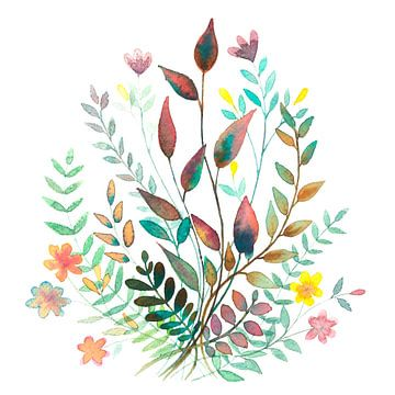 Feldblumenstrauss in Aquarell | Malerei von WatercolorWall