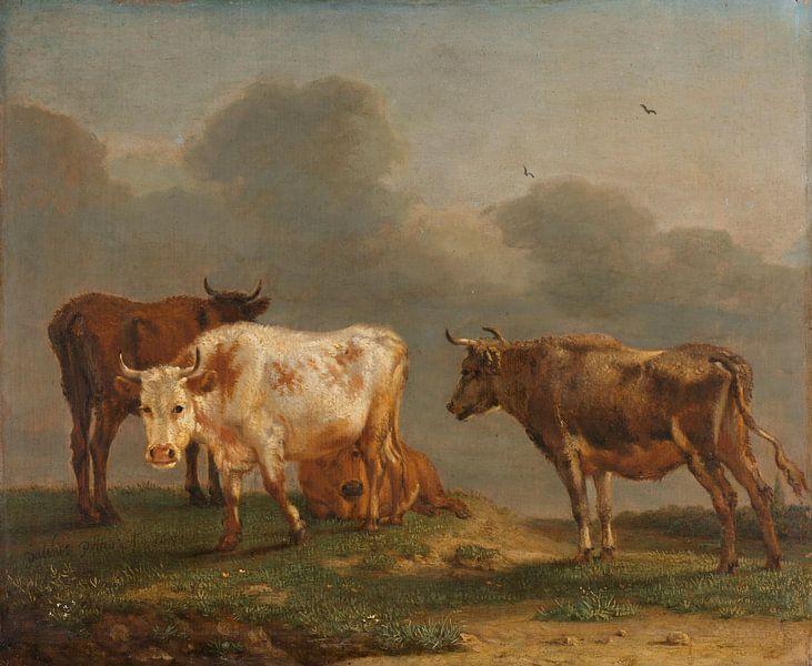 Vier koeien in de wei, Paulus Potter, 1651 van Meesterlijcke Meesters