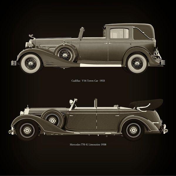 Cadillac V16 Town Car 1933 en Mercedes 770-K Limousine 1938 van Jan Keteleer