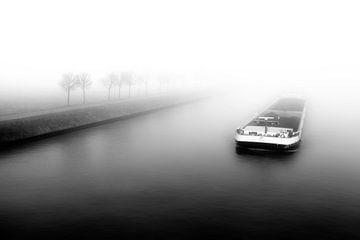 Ship in grey mist von Jan van der Knaap
