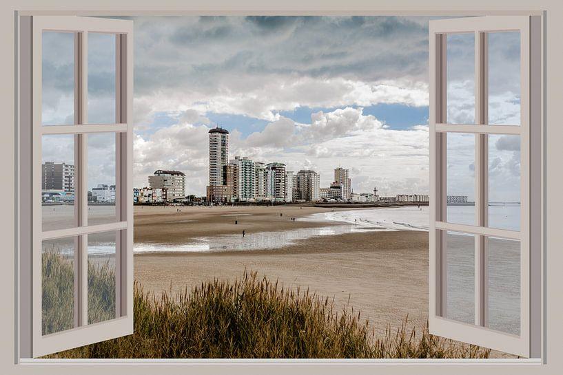 Uitzicht vanuit het raam op Vlissingen van Fotografie Jeronimo