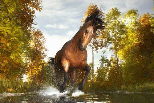 Gemaltes laufendes Pferd