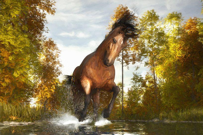 Geschilderd rennend paard van Arjen Roos