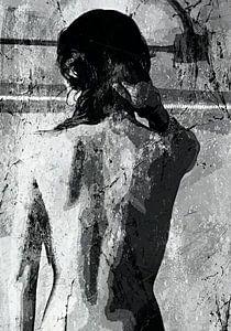 Taking a shower - black white