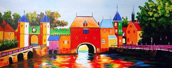 Schilderij Amersfoort Koppelpoort - Amersfoorts stadsgezicht
