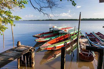 Boten op de Commewijne  rivier, Suriname van Marcel Bakker