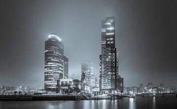 Der Wilhelminakade, spät in der Nacht, schwarz und weiß von Marc Goldman