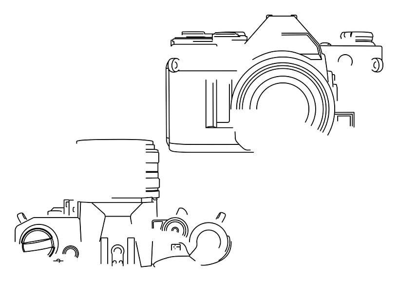 Analoge Camera Silhouet (Canon AE-1-style) van Drawn by Johan