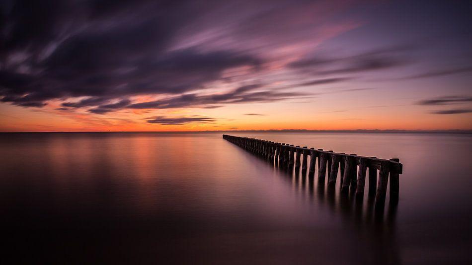 Gouden lucht bij het IJsselmeer
