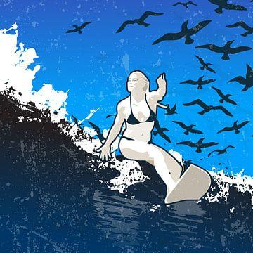 Dame auf den Wellen von Jaap Tinholt