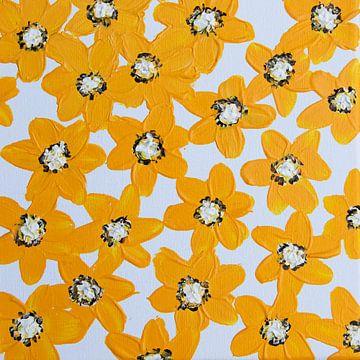 Blumen gelb braun weiß von Bianca ter Riet