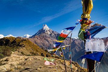 Bild vom Fishtail-Berggipfel des Mardi-Himal-Trekkings in Nepal, mit bunten Wunschflaggen im Vorderg von Twan Bankers