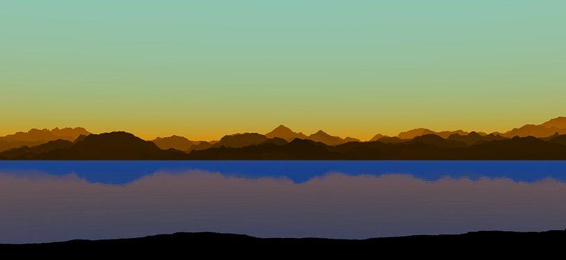 Coucher de soleil dans les montagnes 8 van Angel Estevez