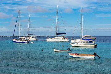 Een groep zeilbootjes en motorbootjes op zee met blauwe lucht van Ben Schonewille