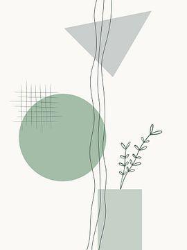 Grüner geometrisch-botanischer Druck von MDRN HOME